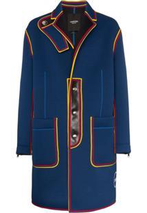 Calvin Klein 205W39Nyc Trench Coat Militar Com Detalhes Contrastantes - Azul