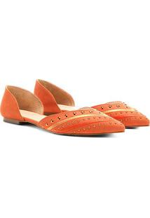 Sapatilha Couro Shoestock Bico Fino Apliques Feminina - Feminino-Laranja