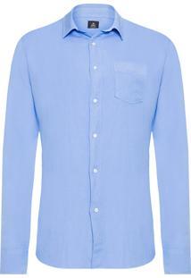 Camisa Masculina Linho E Rib Duo - Azul
