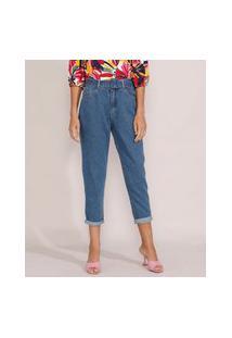 Calça Jeans Feminina Mom Cintura Super Alta Com Cinto Azul Médio