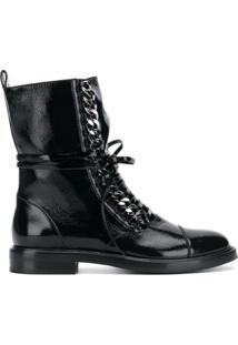 Casadei Ankle Boot De Couro Envernizado Com Cadarço - Preto