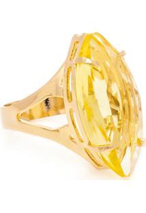 216b5296d ... Anel Navete Semijoia Banho De Ouro 18K Cristal Amarelo