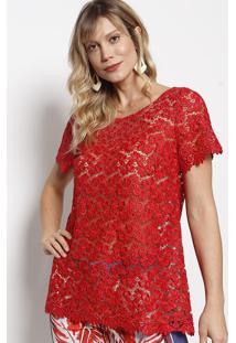 Blusa Em Renda Com Tule & ZãPer- Vermelha- Nectarinanectarina
