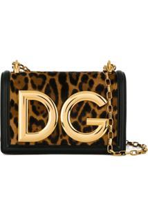 Dolce & Gabbana Bolsa Tiracolo Dg Girls De Couro - Marrom