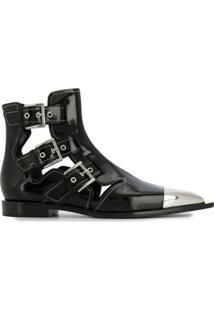 Alexander Mcqueen Cage Ankle Boots - Preto