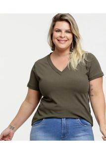 Blusa Feminina Canelada Decote V Plus Size