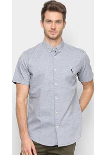 Camisa Manga Curta Reserva Oxford Color Masculina - Masculino-Marinho