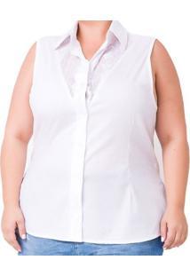 Regata Confidencial Extra Plus Size Tricoline Com Renda Feminina - Feminino-Branco