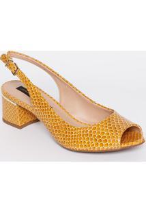 Peep Toe Chanel Em Couro - Amarelo & Amarelo Escuro Jorge Bischoff