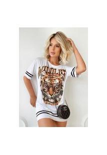 Blusa Tigre Groovy Maxi T-Shirt Branca