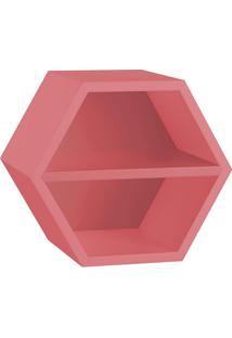 Nicho Hexagonal Favo Ii Com Prateleira Rosa New