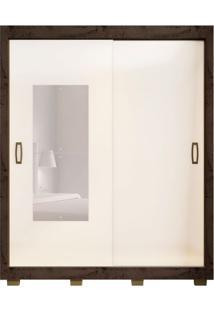 Guarda-Roupa Casal Com Espelho Morgan 2 Pt Imbuia E Baunilha