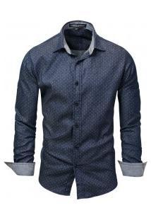 Camisa Masculina Estilo Jeans Poá Manga Longa - Azul Escuro