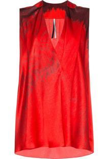 Poiret Blusa De Seda Estampada - Vermelho