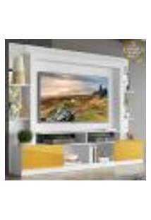 """Rack C/ Painel E Suporte Tv 65"""" Prateleiras C/ Espelho Oslo Multimóveis Branco/Amarelo"""
