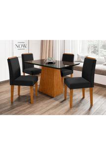 Conjunto De Mesa De Jantar Com Tampo De Vidro Jasmin E 4 Cadeiras Ana Ii Veludo Nero E Preto