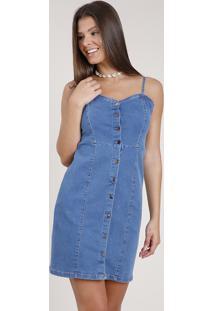 Vestido Jeans Feminino Curto Com Botões Alça Fina Azul Médio
