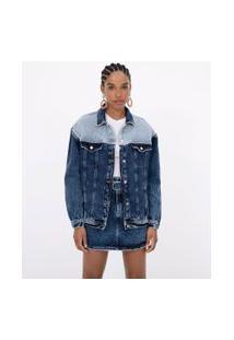 Jaqueta Bomber Em Jeans Com Recortes | Blue Steel | Azul | P