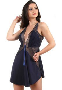 Camisola Sexy Com Calcinha Em Microfibra E Renda Bianca Azul Marinho