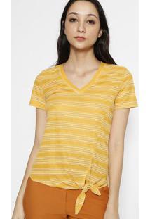 Blusa Com Textura Listrada- Amarela & Brancala Chocolãª