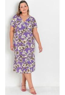 Vestido Floral Com Recortes Franzidos Plus Size