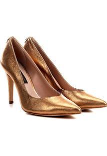 Scarpin Couro Jorge Bischoff Dusty Metalizado - Feminino-Ouro