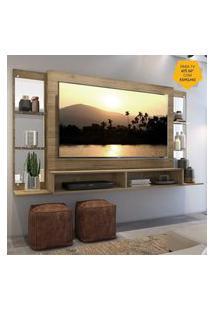 """Painel Tv 60"""" C/ Espelho E Prateleiras De Vidro Nairóbi Multimóveis Rustic"""