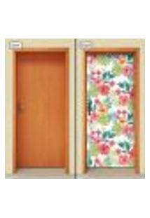 Adesivo Decorativo De Porta - Flores - 1409Cnpt