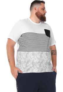 Camiseta Rovitex Plus Listrada Branca/Azul-Marinho