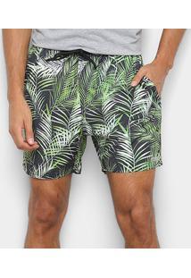 Bermuda Mood Elástico Masculina - Masculino-Preto+Verde