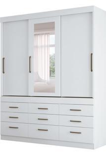Guarda-Roupa Casal Com Espelho Click 3 Pt 9 Gv Branco