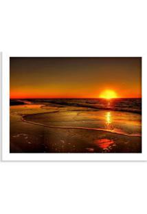 Quadro Decorativo Nascer Do Sol Praia Branco - Médio