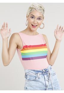 Body Feminino Pride Arco Íris Sem Manga Rosa