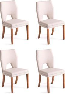 Conjunto Com 4 Cadeiras De Jantar Diamante Branco E Castanho