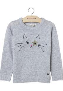 Blusa Le Lis Petit Kitty Cat Cinza Feminina (Chumbo, 12)