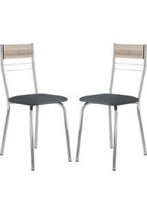 Cadeira 026 Cromada 02 Unidades Nogueira/Jeans Carraro