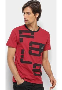 Camiseta Polo Rg 518 Gola Careca Masculina - Masculino-Vermelho