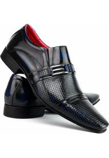 Sapato Social Art Shoes Estilo Italiano Em Couro Legítimo Masculino - Masculino-Preto+Azul