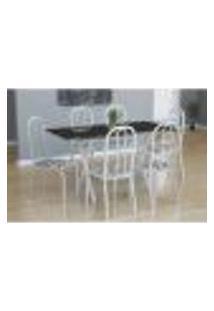 Conjunto De Mesa Miame Com 6 Cadeiras Madri Branco E Branco Floral