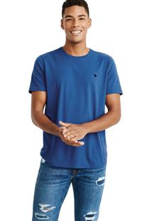 Camiseta Manga Curta Abercrombie Básica Azul