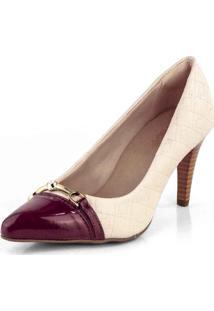 Sapato Scarpin Salto Fino Matelasse New Pele Creme - Tricae