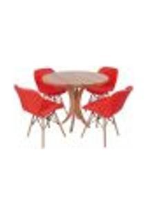 Conjunto Mesa De Jantar Tampo De Madeira 90Cm Com 4 Cadeiras Slim - Vermelho