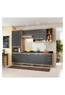 Cozinha Completa Multimóveis 5809 Sicília 6 Peças Argila E Grafite
