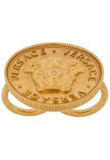 Versace Anel 'Medusa Coin' - Metálico