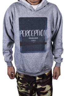 Blusa Outletdri Moletom Estampado Perception Cinza