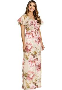f15b677ef ... Vestido Maria Amaral Longo Floral Com Babados