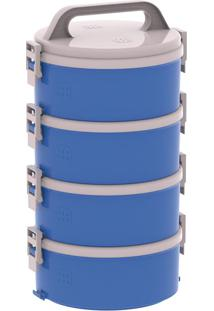Conjunto Marmitex Termoprato 4 Peças Azul Tekcor Soprano