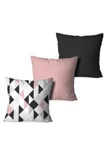 Kit 3 Capas Love Decor Para Almofadas Decorativas Triangulos Escandinavos Multicoloridos Rosa