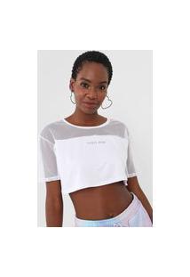 Camiseta Cropped Tricats Transparência Shine Branca