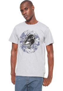 Camiseta Fiveblu Manga Curta Estampada Cinza